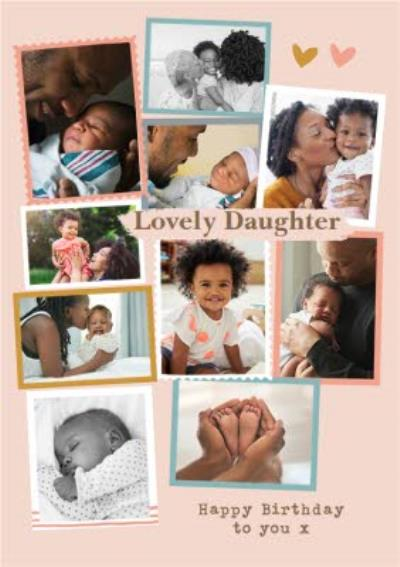 Modern Photo Upload Collage Lovely Daughter Birthday Card