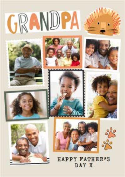 Modern Photo Upload Collage Granpa Happy Father's Day Card