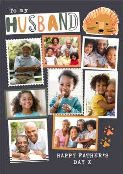 Lion Themed Husband Photo Upload Collage Father's Day Card
