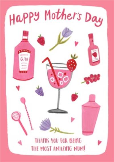 Bright Pink Time For Gin Happy Mother's Day Card