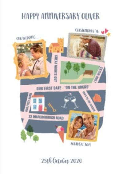 Happy Anniversary Map Of Our Relationship Photo Upload Card