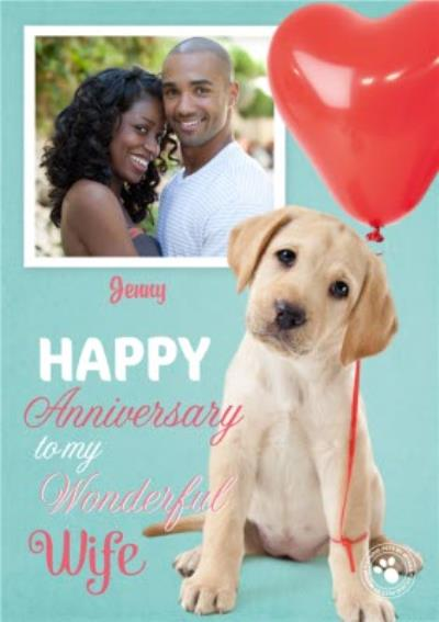Puppy And Balloon Personalised Photo Upload Anniversary Card For Wife