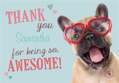 Puppy Wearing Heart Glasses Personalised Thank You Card