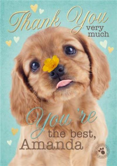 Cute Puppy Personalised Thank You Card
