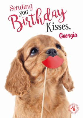 Sweet Puppy Dog Birthday Kisses Card