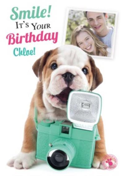 Puppy Behind The Camera Happy Birthday Photo Card