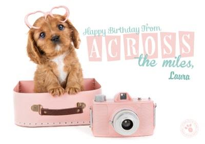 Puppy In A Suitcase Across The Miles Happy Birthday Card