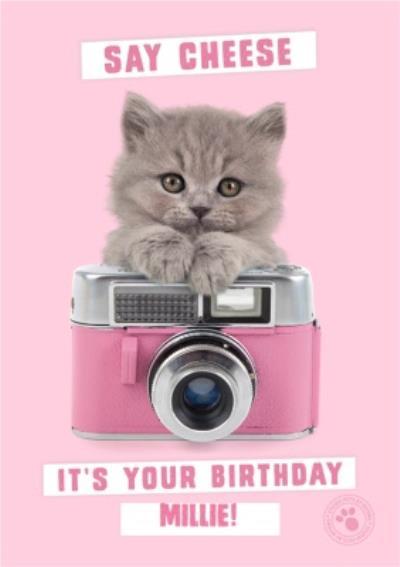 Little kitten holding vintage camera - Personalised Birthday Card