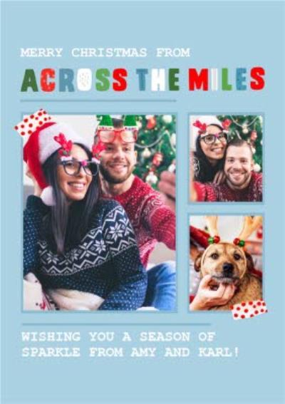 Modern Across The Miles Christmas Photo Upload Card