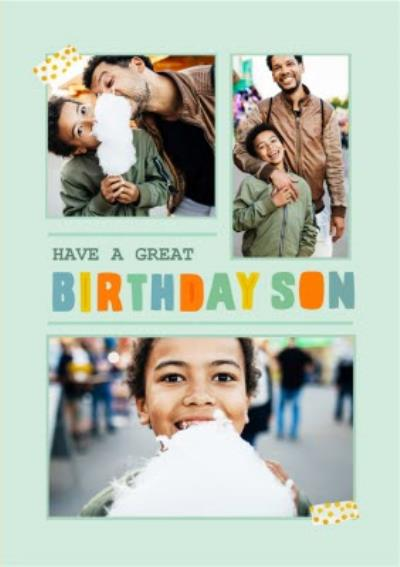 Have A Great Birthday Son Cute Photo Upload Card