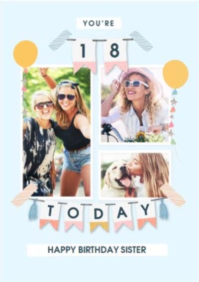 Photo Upload You're 18 Today Balloons and Bunting Birthday Card