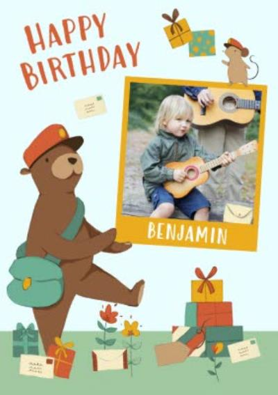 Personalised Bear And The Parcels Happy Birthday Photo Card