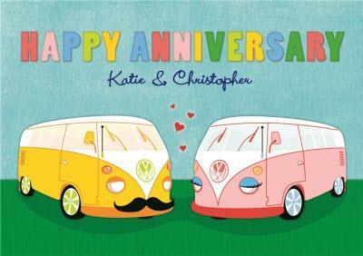 Pair Of Vw Camper Vans Personalised Happy Anniversary Card