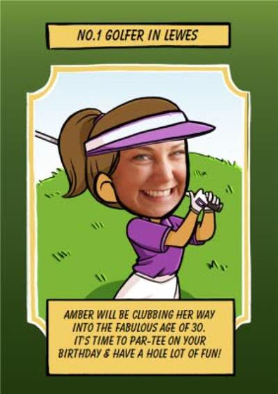 Birthday Card - Face In The Hole - Female - Photo Upload - Sport - Golfer