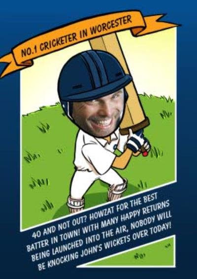 Birthday Card - Face In The Hole - Male - Photo Upload - Sport - Cricket