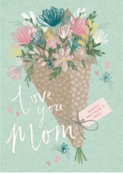 Mother's Day Card - love you mum - flowers