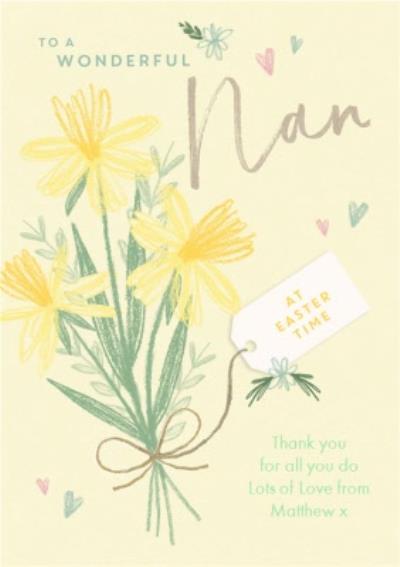 To A Wonderful Nan Daffodil Drawing Card