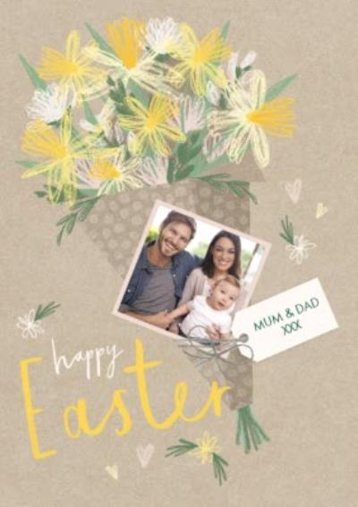 Happy Easter Bouquet Photo Upload Card