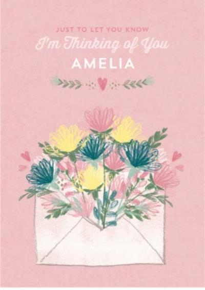 Colourful Garden Flowers Personalised Thinking Of You Card