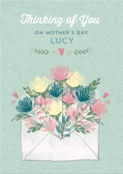 Flowers Sprouting From An Envelope Thinking Of You Mother's Day Card