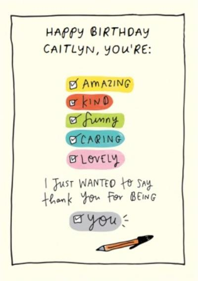 Personalised Thank You For Being You Checklist Happy Birthday Card