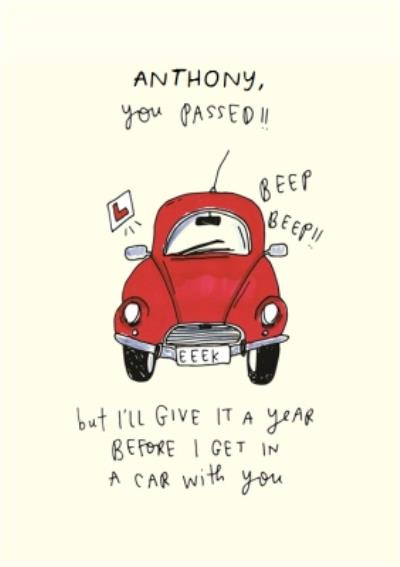 Passing Driving Test Illustration Personalised Card