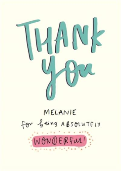 Youre Wonderful Personalised Thank You Card