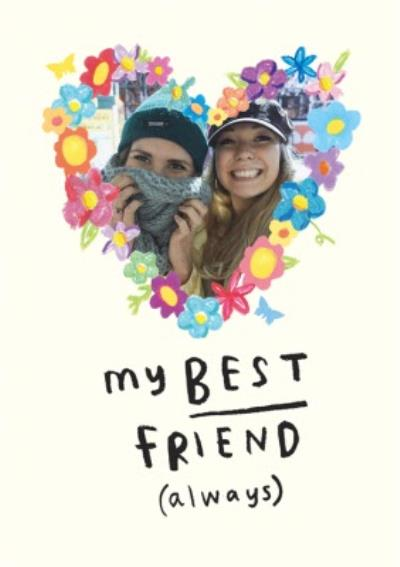 Floral Heart Best Friends Photo Upload Card