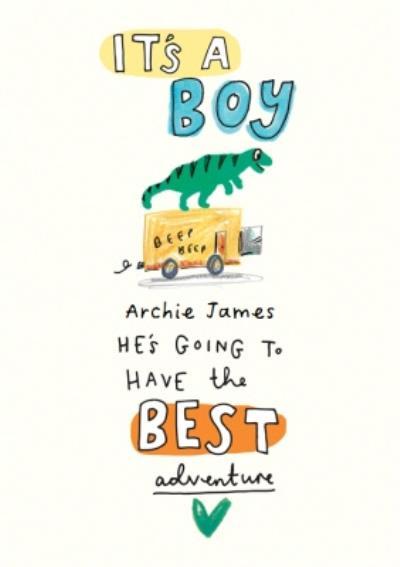 It's A Boy Dinosaur New Baby Card