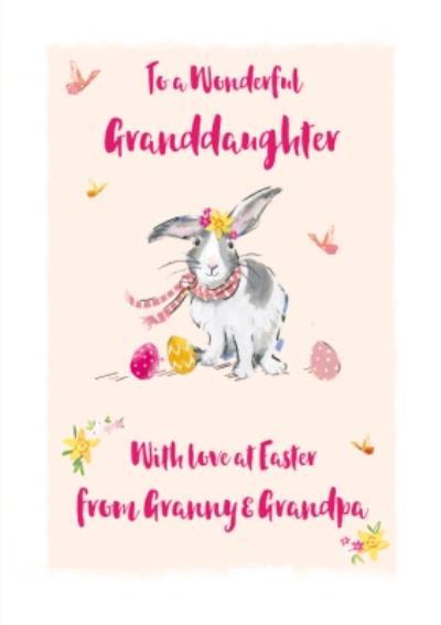 Easter Card - Granddaughter - Easter Bunny - Easter Eggs