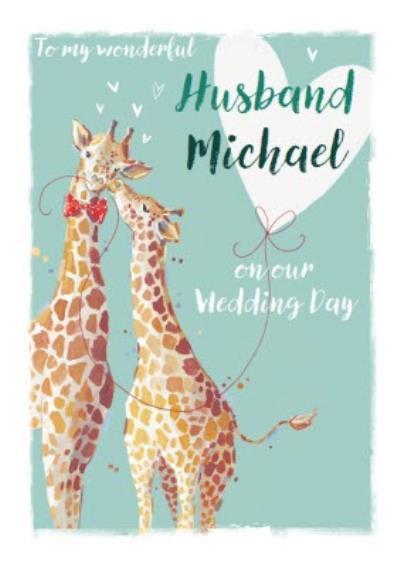 Giraffes Wonderful Husband Wedding Card