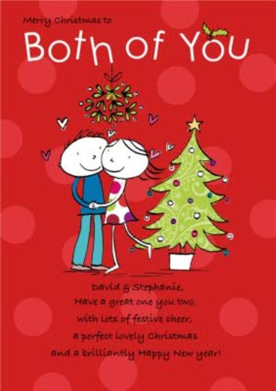 Both Of You Under The Mistletoe Personalised Merry Christmas Card