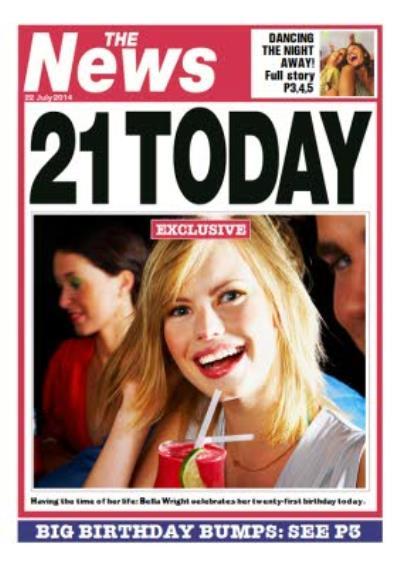 Newspaper Spoof 21st Birthday Card