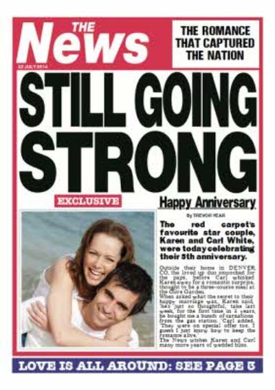 Still Going Strong Newspaper Headline Personalised Photo Upload Anniversary Card
