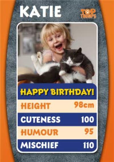 Top Trumps Cat Facts Photo Upload Birthday Card
