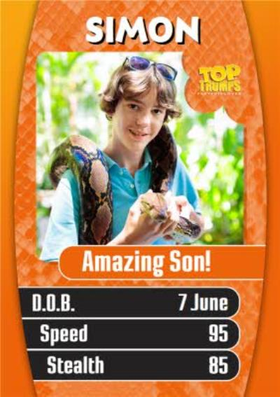 Top Trumps To An Amazing Son Photo Upload Birthday Card