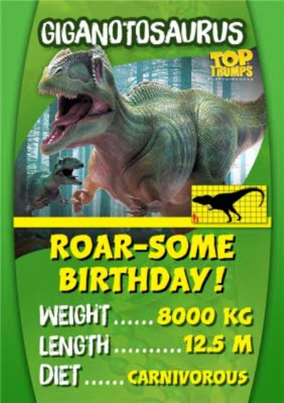 Top Trumps Roarsome Birthday Card