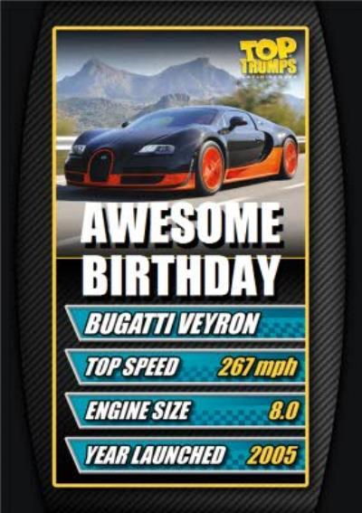 Top Trumps Awesome Birthday Bugatti Veyron Card