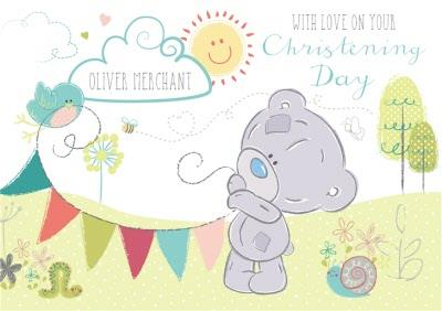 Tiny Tatty Teddy With Bunting Personalised Christening Day Card