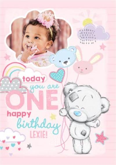 Me To You Tatty Teddy 1St Birthday Pink Photo Upload Card