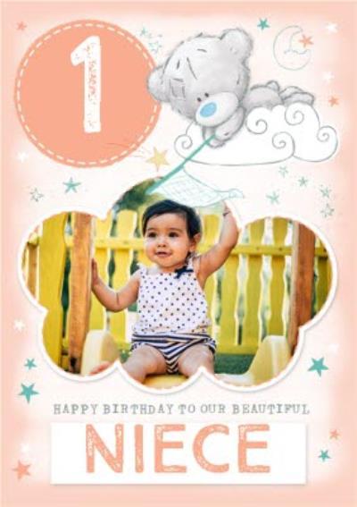 Me To You Tiny Tatty Teddy Niece 1st Birthday Photo Upload Card