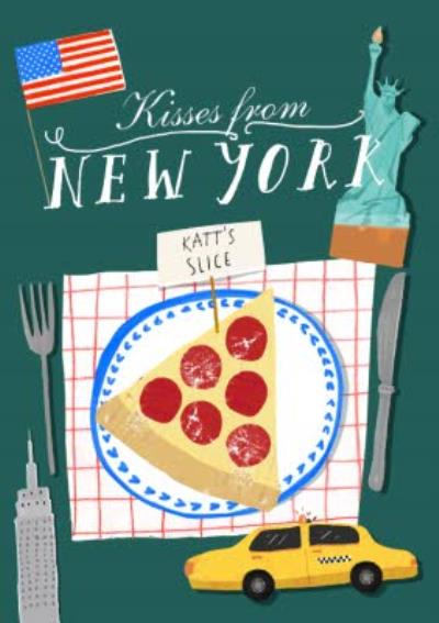 Kisses From New York Personalised Pizza Slice Card