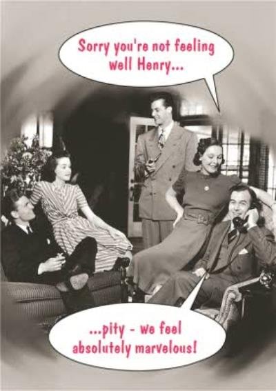Vintage Personalised Sorry You're Not Feeling Well Card