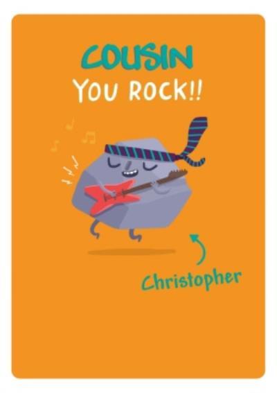 Cousin You Rock Funny Cartoon Birthday Card