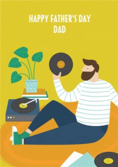 Colourful & Bright Vinyl Record Playing Dad Father's Day Card