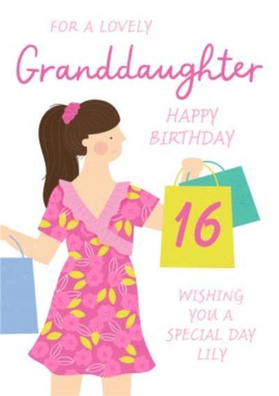 Lovely Granddaughter Shopping Bags 16th Birthday Card