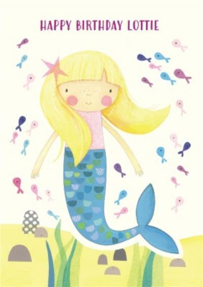 Watercolour Mermaid Personalised Happy Birthday Card
