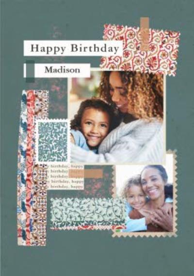 V&A Floral Pattern Photo Upload Birthday Card