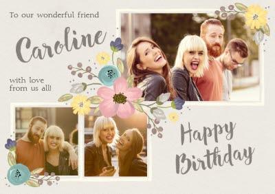 Flower Border Multi-Photo Horizontal Birthday Card
