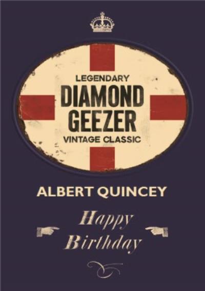 Englands Diamond Geezer Personalised Name Card